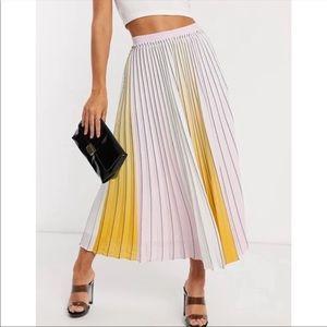 NWT Ted Baker Noviia Ombré Pleated Midi Skirt